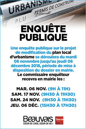 Modification du plan local d'urbanisme - Du mardi 06 novembre 2018 au jeudi 06 décembre 2018 inclus